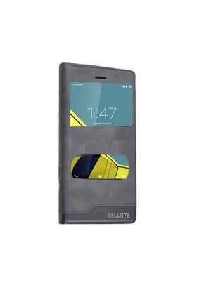 Teleplus Vodafone Smart 6 Çift Pencereli Kılıf Siyah
