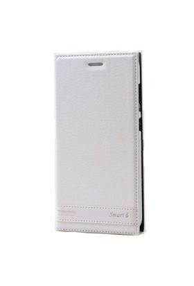 Teleplus Vodafone Smart 6 Mıknatıslı Flip Cover Kılıf Beyaz