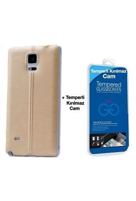 Teleplus Samsung Galaxy Note 3 Dikişli Silikon Kılıf Sarı + Cam Ekran Koruyucu