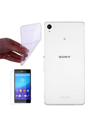 Gpack Sony Xperia Z5 Premium Kılıf 0.2Mm Şeffaf Silikon + Cam