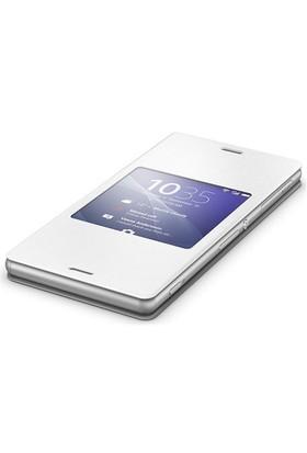 Sony Xperia Z3 Akıllı Pencere Fonksiyonlu Style Beyaz Kılıf - SCR24RU/W