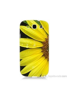 Teknomeg Samsung Galaxy S3 Kapak Kılıf Sarı Çiçek Baskılı Silikon