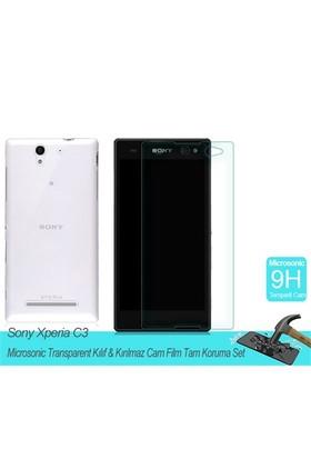 Microsonic Sony Xperia C3 Transparent Kılıf & Film Tam Koruma Set