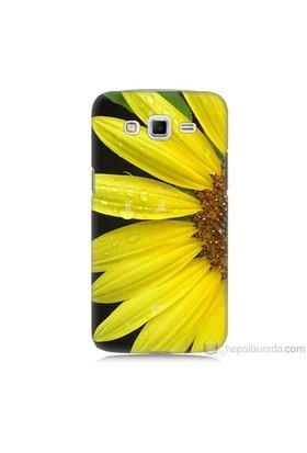 Teknomeg Samsung Galaxy Grand 2 Kapak Kılıf Sarı Çiçek Baskılı Silikon