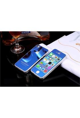 Teleplus İphone 4S Renkli Cam Ekran Koruyucu Ön + Arka Cam Ekran Koruyucu Mavi