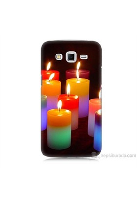 Teknomeg Samsung Galaxy Grand 2 Kapak Kılıf Mumlar Baskılı Silikon