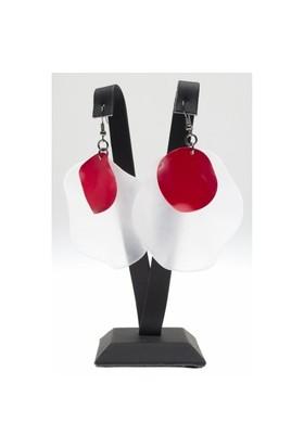 Bigg Bijoux Beyaz-Kırmızı Küpe