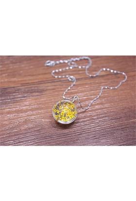 Güven Altın Yaşayan Kolyeler Kristal Cam Kurutulmuş Çiçekler Yk162