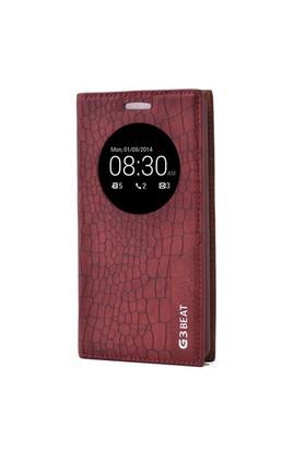 Teleplus Lg G3 Beat Pencereli Uyku Modlu Mıknatıslı Kılıf Kırmızı