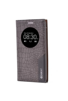 Teleplus Lg G3 Beat Pencereli Uyku Modlu Mıknatıslı Kılıf Gri