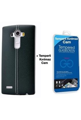 Teleplus Lg G4 Stylus Dikişli Silikon Kılıf Yeşil + Cam Ekran Koruyucu