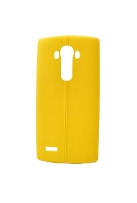 Teleplus Lg G3 Beat Deri Görünümlü Silikon Kılıf Sarı