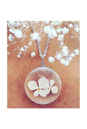 Güven Altın Yaşayan Kolyeler Kristal Cam Kurutulmuş Çiçekler Yk119