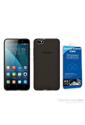 Teleplus Huawei Y5c Silikon Kılıf Siyah + Temperli Cam Ekran Koruyucu Cam Ekran Koruyucu