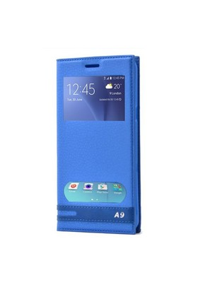 Teleplus Samsung Galaxy A9 Çift Pencereli Kılıf Mavi