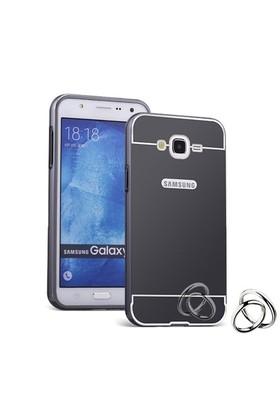 Teleplus Samsung Galaxy On7 Aynalı Metal Kapak Kılıf Siyah