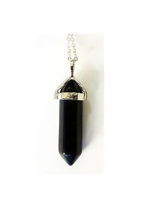 Köstebek Doğal Taş Kristal Kolye Siyah