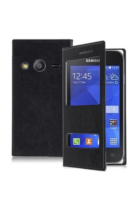 Teleplus Samsung Galaxy Ace 4 Pencereli Uyku Modlu Kılıf Siyah