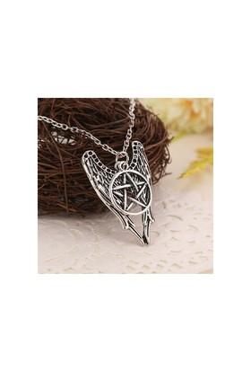 Köstebek Supernatural Castiel Pentacle Angel Wings Kolye