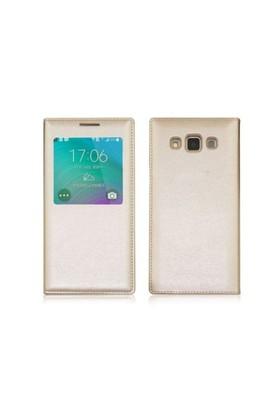 Teleplus Samsung Galaxy E7 Pencereli Kılıf Uyku Modlu Sarı