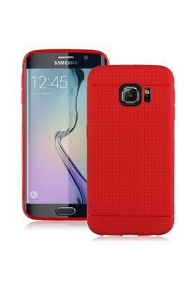 Teleplus Samsung Galaxy S6 Edge Benekli Silikon Kılıf Kırmızı
