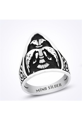 Mina Silver Selçuklu Kartalı Okçu Zihgir Okçu Taşsız Gümüş Erkek Yüzük