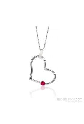 Bayan Lili Renkli Crystal Taşlı Kalp Tek Taş Kolye