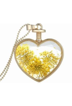 Sembol Gold Canlı Çiçek Kolye 18K Altın Kaplama 60 Cm