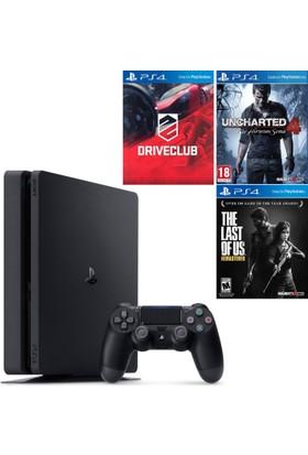 Sony Playstation 4 1Tb Pal Slim Oyun Konsolu + Uncharted 4 + Drive Club + The Last Of Us (Üç Oyunlu Paket)