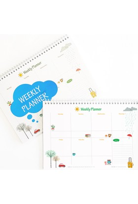 Bi'aldım Haftalık Planlayıcı (Sümen) - A4 Boy Mavi Renk