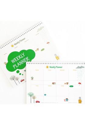 Bi'aldım Haftalık Planlayıcı (Sümen) - A4 Boy Yeşil Renk