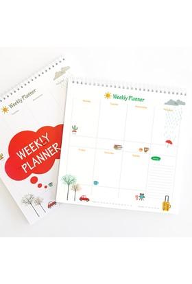 Bi'aldım Haftalık Planlayıcı (Sümen) - Kare Kırmızı Renk