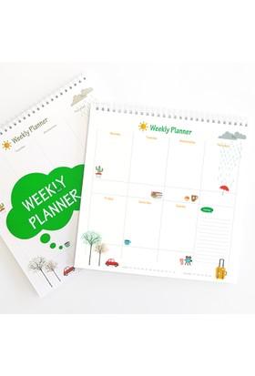 Bi'aldım Haftalık Planlayıcı (Sümen) - Kare Yeşil Renk