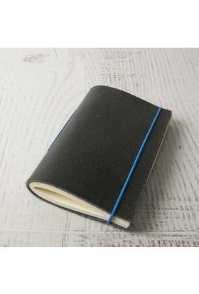 Bi'aldım El Yapımı Özel Tasarım Mavi Lastikli Siyah Deri Defter