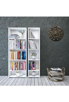 Eyibil Mobilya Linda 2'Li Modern Arkalıklı Kitaplık Parlak Beyaz