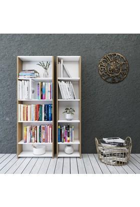 Eyibil Mobilya Linda 2'Li Modern Arkalıklı Kitaplık Ceviz Beyaz