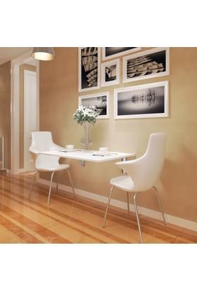 Eyibil Mobilya Ege Açılır Kapanır Çalışma Masası Mutfak Masası Katlanır Duvar Masası Parlak Beyaz