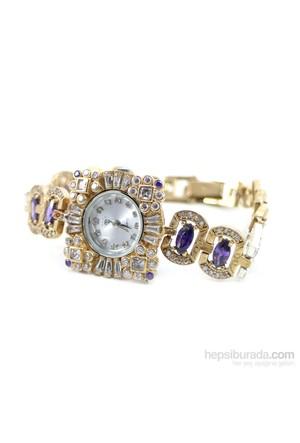 Dhamany Mor Beyaz Taşlı Kare Bayan Gümüş Saat