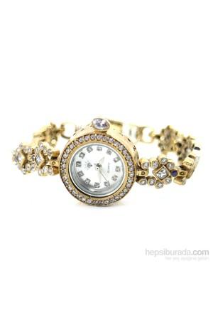 Dhamany Mor Beyaz Taşlı Yuvarlak Bayan Gümüş Saat