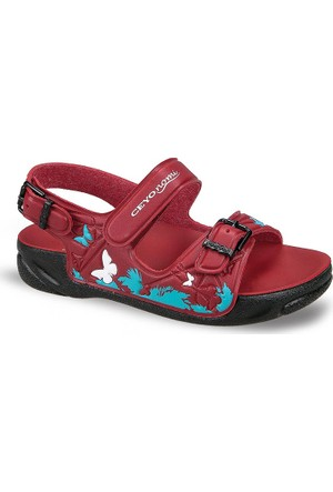 Ceyo Kız Çocuk Sandalet Kırmızı Capri-15