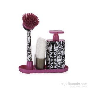 vıgar pembe roccoco sıvı sabunluk fırça seti
