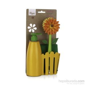 vıgar flower çit sıvı sabunluk fırça seti sarı