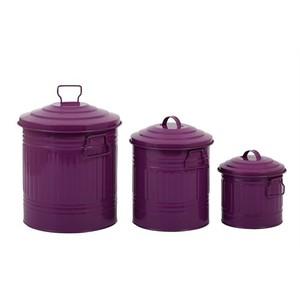 fidex home 3lü çöp kova set-mor