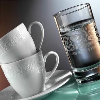 Kütahya Porselen Açelya 18 Parça 6 Kişilik Su Bardaklı Kahve Fincan Takımı