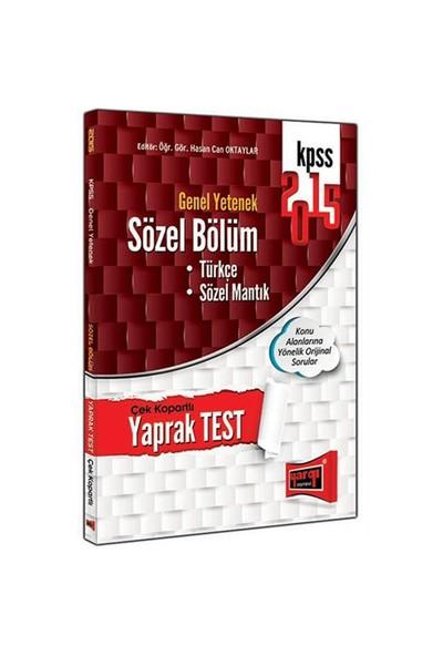 Yargı Yayınları Kpss 2015 Sözel Bölüm Çek Kopart Yaprak Test-Komisyon