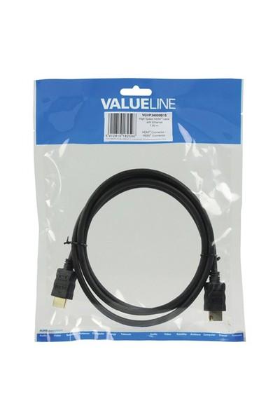 Valueline VGVP34000B15 HDMI - HDMI 1.5m Ethernet High Speed 4K Altın Kaplama Kablo