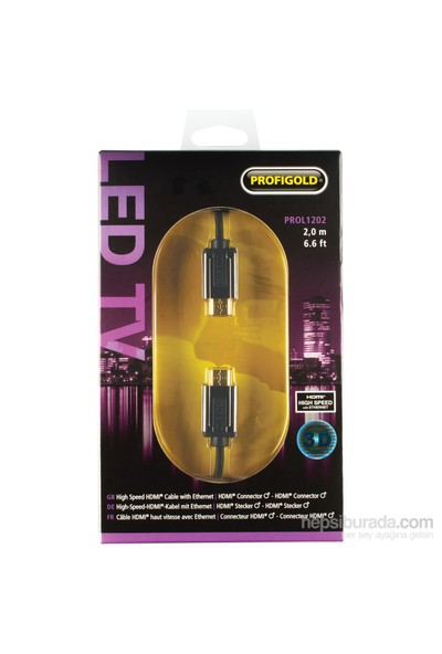 Profigold PROL1202 HDMI - HDMI 2m Ethernet High Speed Altın Kaplama Kablo