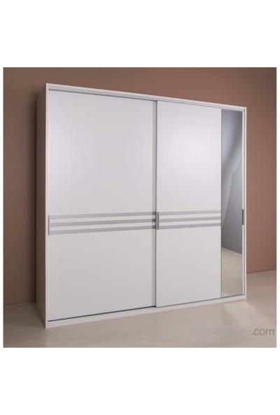Hepsiburada Home Doruk Aynalı Sürgü Kapaklı Gardırop - Beyaz
