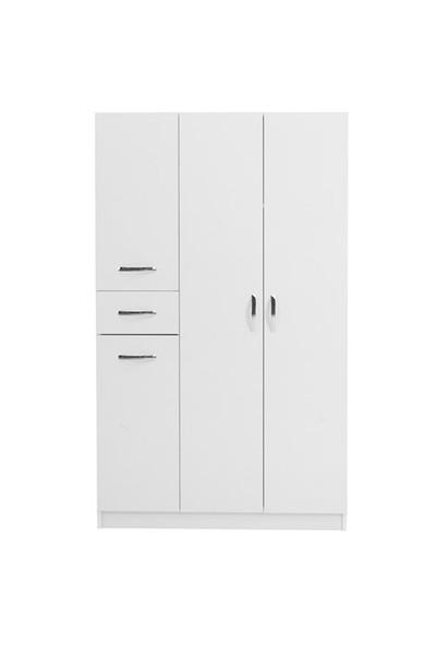 Hepsiburada Home Gm316 4 Kapaklı Çekmeceli Gardırop - Beyaz