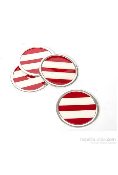 I Love Home Bardak Altlığı 4 Lü Set Kırmızı Beyaz